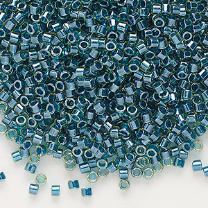 seed bead, delica, glass, color-lined moss green, (db919), #11 round. sold per 7.5-gram pkg.
