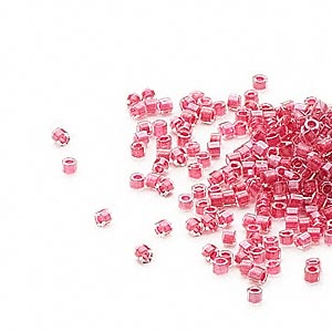 seed bead, delica, glass, color-lined pink lipstick, (db914cut), #11 cut. sold per 50-gram pkg.