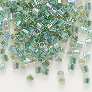 seed bead, delica, glass, color-lined rainbow light lime, (dblc0060), #8 cut. sold per 7.5-gram pkg.