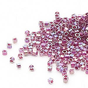 seed bead, delica, glass, color-lined rainbow magenta, (db56cut), #11 cut. sold per 50-gram pkg.