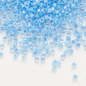 seed bead, delica, glass, color-lined rainbow medium blue, (db76), #11 round. sold per 7.5-gram pkg.