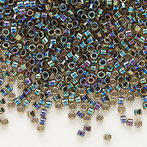 seed bead, delica, glass, color-lined rainbow olive, (db89), #11 round. sold per 250-gram pkg.