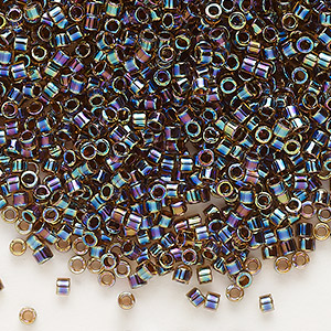 seed bead, delica, glass, color-lined rainbow root beer, (db87), #11 round. sold per 250-gram pkg.