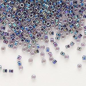 seed bead, delica, glass, color-lined rainbow violet, (db59), #11 round. sold per 50-gram pkg.