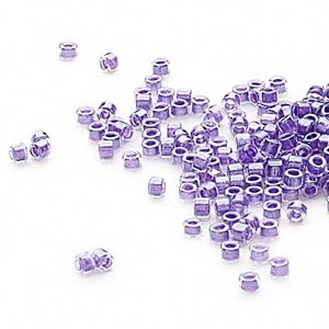 seed bead, delica, glass, color-lined shimmer lavender, (db906), #11 round. sold per 250-gram pkg.