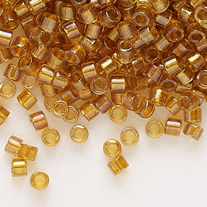seed bead, delica, glass, color-lined topaz yellow, (db65), #11 round. sold per 250-gram pkg.