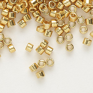 seed bead, delica, glass, galvanized yellow gold, (db410), #11 round. sold per 7.5-gram pkg.