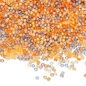 seed bead, delica, glass, mixed transparent luminous colors, (db2062), #11 round. sold per 7.5-gram pkg.