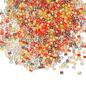 seed bead, delica, glass, mixed transparent luminous colors, (db2063), #11 round. sold per 7.5-gram pkg.