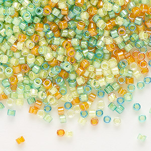seed bead, delica, glass, mixed transparent luminous colors, (db2066), #11 round. sold per 250-gram pkg.