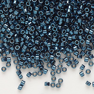 seed bead, delica, glass, nickel-finished teal, (db459), #11 round. sold per 50-gram pkg.