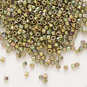 seed bead, delica, glass, opaque 24kt gold-finished rainbow olive, (db508), #11 round. sold per 250-gram pkg.