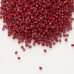 seed bead, delica, glass, opaque brick red, (db654), #11 round. sold per 7.5-gram pkg.