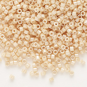seed bead, delica, glass, opaque glazed luster beige, (db0205), #11 round. sold per 7.5-gram pkg.