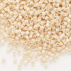 seed bead, delica, glass, opaque glazed luster light beige, (db0204), #11 round. sold per 50-gram pkg.