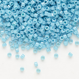 seed bead, delica, glass, opaque glazed luster light blue, (db0218), #11 round. sold per 7.5-gram pkg.