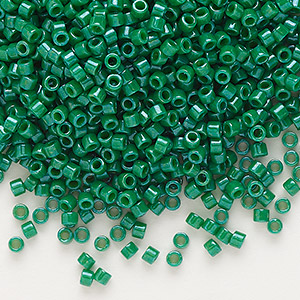 seed bead, delica, glass, opaque green, (db656), #11 round. sold per 250-gram pkg.