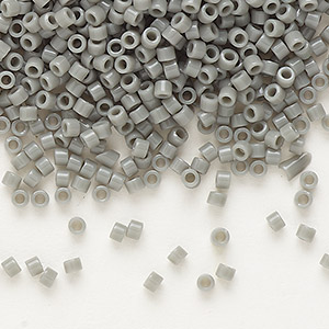 seed bead, delica, glass, opaque grey, (db731), #11 round. sold per 7.5-gram pkg.