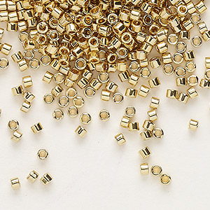 seed bead, delica, glass, opaque light 24kt gold-finished, (db34), #11 round. sold per 4-gram pkg.