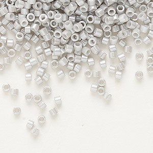 seed bead, delica, glass, opaque luster grey, (db1538), #11 round. sold per 7.5-gram pkg.