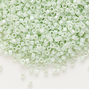 seed bead, delica, glass, opaque luster mint, (db1536), #11 round. sold per pkg of 250 grams.