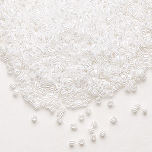 seed bead, delica, glass, opaque luster pearl, (db201), #11 round. sold per pkg of 250 grams.