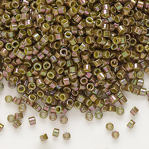 seed bead, delica, glass, opaque luster rainbow olive, (db133), #11 round. sold per 7.5-gram pkg.