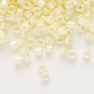 seed bead, delica, glass, opaque luster yellow, (db1531), #11 round. sold per 50-gram pkg.