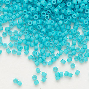 seed bead, delica, glass, opaque matte cyan turquoise blue, (db793), #11 round. sold per 250-gram pkg.