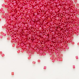 seed bead, delica, glass, opaque matte luster cranberry, (db362), #11 round. sold per 7.5-gram pkg.