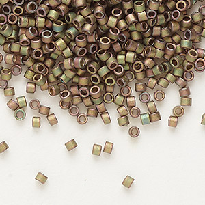 seed bead, delica, glass, opaque matte luster rainbow olive rose, (db380), #11 round. sold per 7.5-gram pkg.