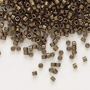 seed bead, delica, glass, opaque matte metallic dark gold, (db322), #11 round. sold per 7.5-gram pkg.