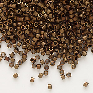 seed bead, delica, glass, opaque matte metallic luster bronze, (db1051), #11 round. sold per 7.5-gram pkg.