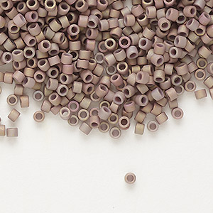 seed bead, delica, glass, opaque matte metallic luster rainbow rose, (db1061), #11 round. sold per 50-gram pkg.