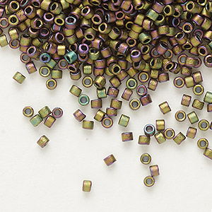 seed bead, delica, glass, opaque matte metallic luster rainbow rose green, (db1055), #11 round. sold per 7.5-gram pkg.