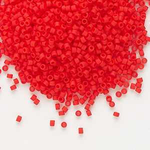 seed bead, delica, glass, opaque matte red, (db757), #11 round. sold per 7.5-gram pkg.