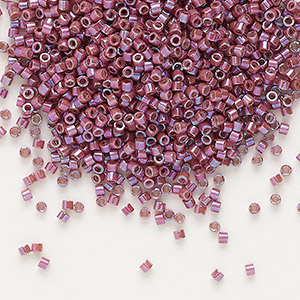 seed bead, delica, glass, opaque metallic luster rainbow cherry, (db1015), #11 round. sold per 7.5-gram pkg.