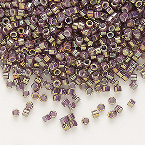 seed bead, delica, glass, opaque metallic luster rainbow lavender, (db1011), #11 round. sold per 7.5-gram pkg.