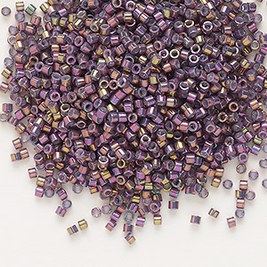 seed bead, delica, glass, opaque metallic luster rainbow rhubarb, (db1014), #11 round. sold per 50-gram pkg.
