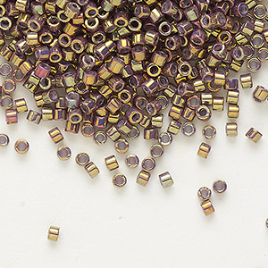 seed bead, delica, glass, opaque metallic luster rainbow rose, (db1010), #11 round. sold per 50-gram pkg.
