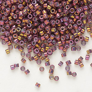 seed bead, delica, glass, opaque metallic luster rainbow strawberry, (db1013), #11 round. sold per 7.5-gram pkg.