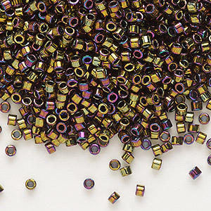 seed bead, delica, glass, opaque metallic rainbow bronze, (db23), #11 round. sold per 250-gram pkg.