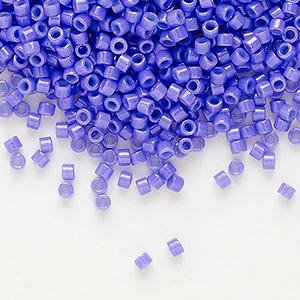 seed bead, delica, glass, opaque purple, (db661), #11 round. sold per 7.5-gram pkg.