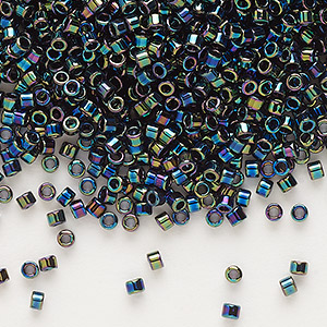 seed bead, delica, glass, opaque rainbow black, (db5), #11 round. sold per 7.5-gram pkg.
