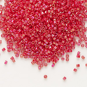 seed bead, delica, glass, opaque rainbow dark red, (db162), #11 round. sold per 7.5-gram pkg.