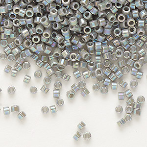 seed bead, delica, glass, opaque rainbow grey, (db168), #11 round. sold per 7.5-gram pkg.