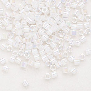 seed bead, delica, glass, opaque rainbow pearl, (dbl202), #8 round. sold per 50-gram pkg.