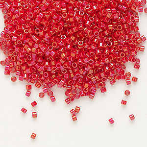 seed bead, delica, glass, opaque rainbow red, (db214), #11 round. sold per pkg of 250 grams.