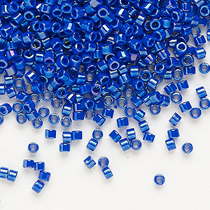 seed bead, delica, glass, opaque rainbow royal blue, (db216), #11 round. sold per pkg of 250 grams.