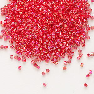 seed bead, delica, glass, opaque rainbow sunset red, (db159), #11 round. sold per 7.5-gram pkg.